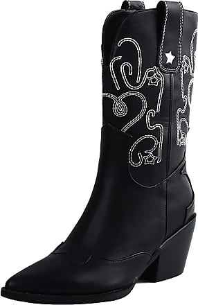 Mediffen Women Western Heels Boots Pointed Toe Mid Calf Cowboy Boots Black-MP Size 35 Asian
