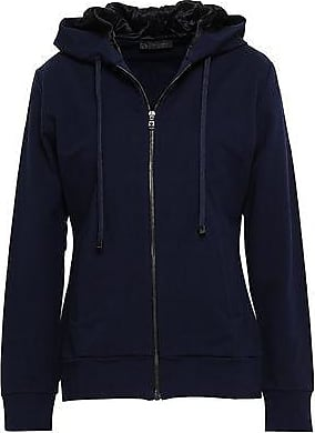 4861040b7d5d Versace Versace Woman French Stretch-cotton Terry Hooded Jacket Midnight  Blue Size 38