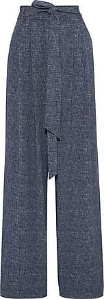 Milly Milly Woman Natalie Belted Marled Twill Wide-leg Pants Mid Denim Size 6