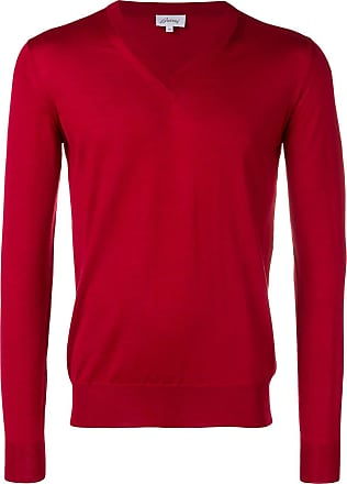 Brioni v-neck fine knit sweater - Vermelho
