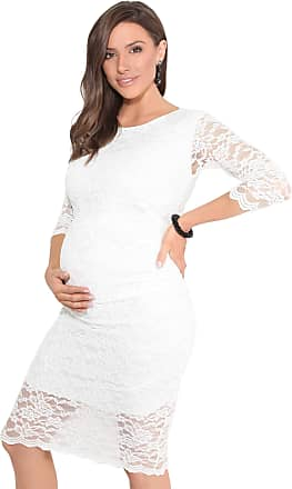Krisp Maternity Lace Occasion Bodycon Dress (S,Cream)