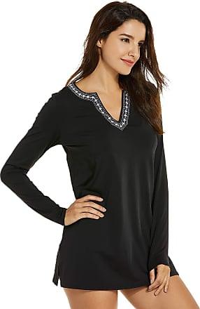 Delimira Womens Loose-fit Long Sleeves UV Beachwear Swimsuit Cover Up Black 10
