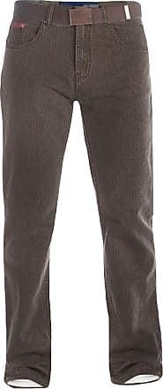 Duke London Mens Brown Bedford Cord Jeans, with Belt (32-50) with Extra Long Leg: 38 (44)