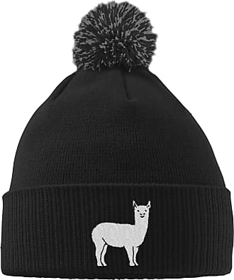 HippoWarehouse Llama Embroidered Beanie Hat with Bobble Black