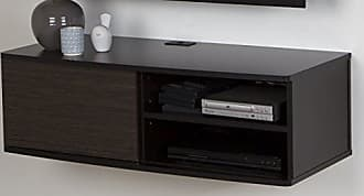 South Shore Furniture Agora Wall Mounted Media Audio/Video Console with Sliding Door, Chocolate & Zebrano