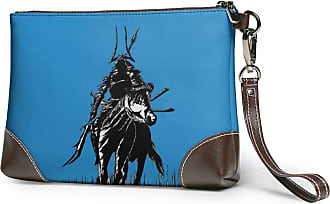 GLGFashion Womens Leather Wristlet Clutch Wallet Samurai Pattern Storage Purse With Strap Zipper Pouch