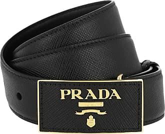 b130cf2157424 Prada Square Buckle Belt Leather Saffiano Black Gürtel schwarz
