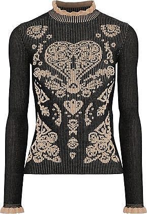 Red Valentino Redvalentino Woman Ruffle-trimmed Ribbed Jacquard-knit Sweater Black Size XS
