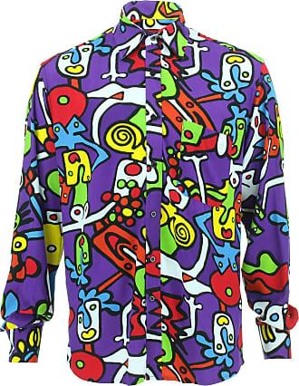 Loud Elephant Tailored Fit Long Sleeve Rayon Shirt - Tiffy Print - Purple (18 / 46cm / XX-Large)