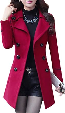H&E Women Winter Warm Woollen Blend Double Breasted Pea Coat with Belt Wine Red XL
