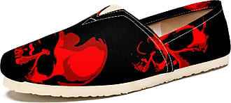 Tizorax Haloween Scary Skull Mens Slip on Loafers Casual Canvas Shoe Flat Boat Shoes