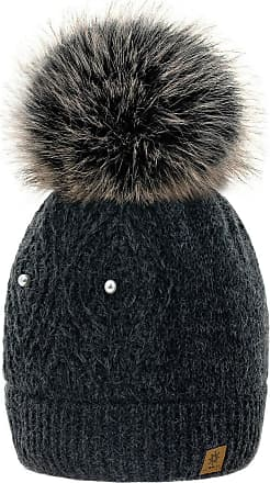 4sold Women Ladies Chunky Soft Cable Knit Hat Natural Mohair Wool with Cosy Fleece Liner and Handmade Faux Fur Pompom (Lili Dark Grey)