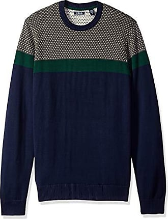 056e8c5ae142ae Izod Mens Colorblock Jacquard 9 Gauge Crewneck Sweater, Peacoat, X-Large