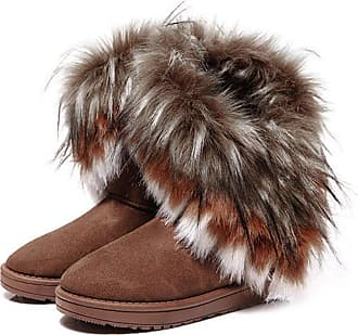 Zeagoo Womens Ladies Classic Short Ladies Flat Faux Suede Shearling Fur Winter Boots