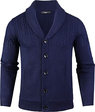 iClosam Mens Shawl Collar Jumper Fine Knit Cotton Pullover Fishermen Cable Stripe Sweater Blue