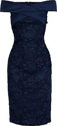 Black Halo Black Halo Woman Leone Off-the-shoulder Satin-trimmed Embroidered Tulle Dress Navy Size 8