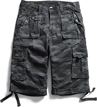 OCHENTA Mens Casual Lightweight Outdoor Cargo Flat Front Shorts Grey 33