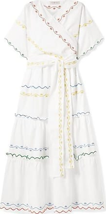 f8b3ef7d49 Tory Burch Tiered Embroidered Cotton-poplin Wrap Maxi Dress - White