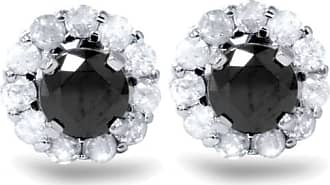 Pompeii3 1.00Ct Black Spinel Studs & Diamond Halo Eearring Jackets 14K White Gold