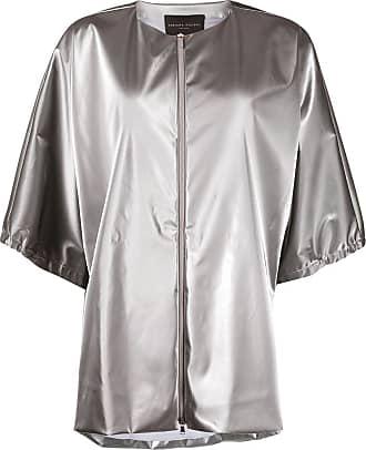 Fabiana Filippi metallic collarless jacket - SILVER
