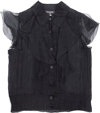 2c8c1b3ce717c Chanel Black Blouse With Short Sleeves In Silk Size 40eu