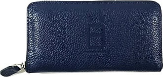 Comembreisd Blue leather woman wallet designed and handmade in Italy