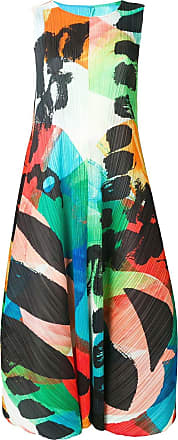 Issey Miyake colour-block flared pleated dress - Green