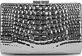 Jessica McClintock Clare Embossed Metal Croco Clutch, silver