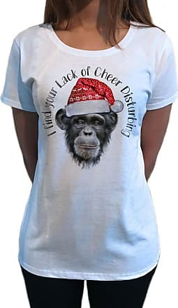 Irony Womens T-Shirt Chimpanzee Merry Christmas Hat Lack of Cheer Disturbing Gift TS1051 (XXLarge) White