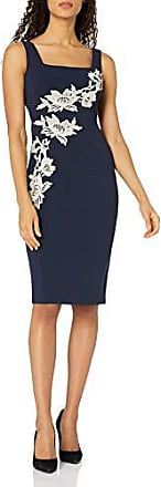 Jax Womens Mixed Lace Sheath with Body Contouring Details