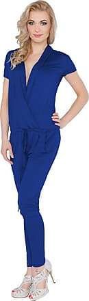 FUTURO FASHION Womens Jumpsuit with Pockets V Neck Wrap Playsuit Catsuit Sizes 8-18 1080 Navy