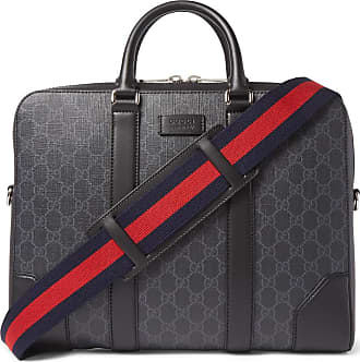 d18285639 Gucci Leather-trimmed Monogrammed Coated-canvas Briefcase - Black