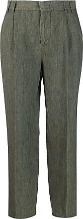 Aspesi Calça cropped de linho - Verde