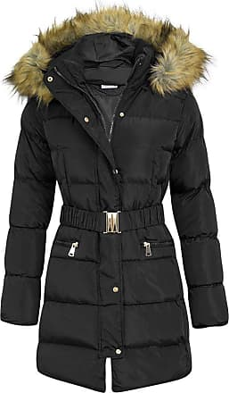 Shelikes Womens Fashion Puffa Long Parka Jacket (Black, 14)