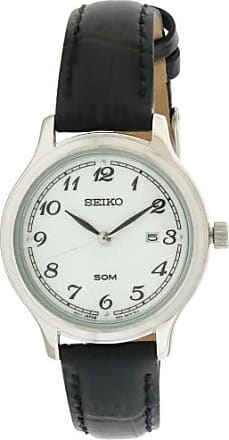 Seiko Black Leather Womens Watch, SUR775