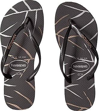 2fb682287bd2 Havaianas Slim Logo Metallic Sandal (Black Silver) Womens Shoes