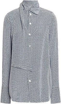 Joseph Joseph Woman Linc Tie-neck Checked Silk Crepe De Chine Shirt Blue Size 38