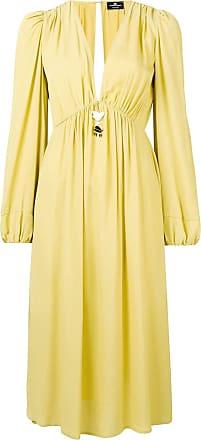 Elisabetta Franchi V-neck midi dress - Yellow