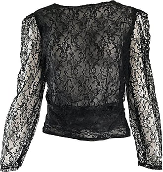3389c3be91454 Chanel Arrtributed Vintage Chanel Couture Black Silk Chiffon Lace Sheer 90s  Blouse Top