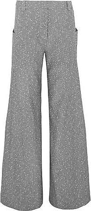 Topshop Topshop Unique Woman Embroidered Wool-blend Wide-leg Pants Gray Size 8