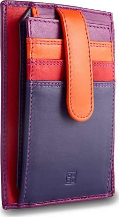 DuDu Porta carte di credito in pelle multicolore con fettuccia DUDU Fucsia