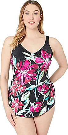 f0eebf9885 Maxine Of Hollywood Womens Plus-Size Side Tie Wide Strap Sarong One Piece  Swim Dress