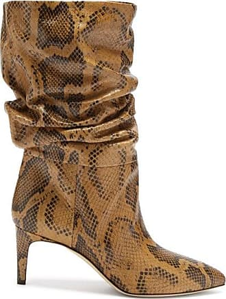 PARIS TEXAS Slouchy Python-effect Leather Ankle Boots - Womens - Brown Multi