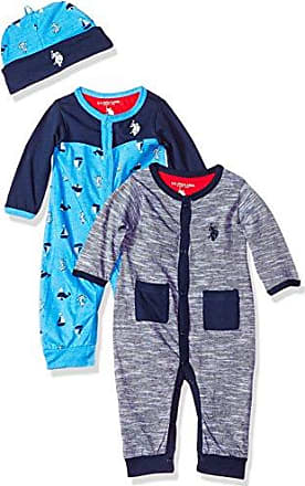 U.S.Polo Association Baby Boys Jumpsuit, Charming Blues Allover Print, 3-6 Months