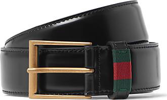 e1c79cab23e65c Gucci 3.5cm Black Webbing-trimmed Patent-leather Belt - Black