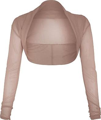 The Celebrity Fashion Womens Ladies Full Mesh Sheer Chiffon Bolero Cropped Shrug Top Cardigan 8-26 Mocca