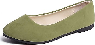 Vdual Ladies Slip On Flat Comfort Walking Ballerina Shoes Summer Loafer Flats UK 2.5-UK 8.5 Dark Green