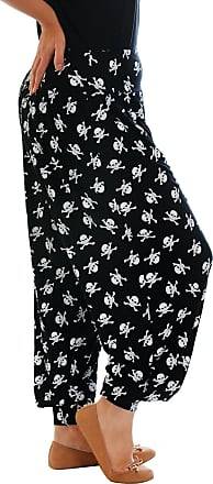 Nouvelle Collection New Womens Plus Size Harem Trousers Ladies Pirate Skull Print Ali Baba Pants Cuffed Bottoms Elasticated Waist Black 20-22