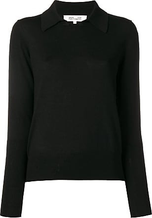 Diane Von Fürstenberg knitted collar top - Preto