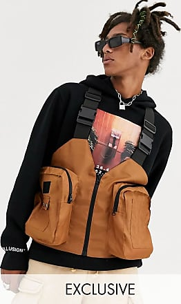 Collusion utility gilet with bellow pockets in rust-Tan